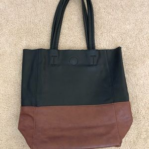 Clarks Black Brown Faux Leather Tote Purse